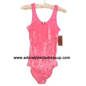 Pink Panne Velvet Tank Leotards for girls
