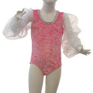 Pink Panne Velvet Leotards with Long Sparkle Sleeve for girls