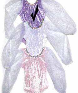 Lavender Panne Velvet Leotards with Long Sparkle Sleeve for girls