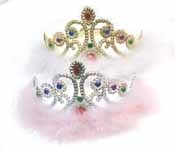 Jeweled Crown with Feather (1 pc.)