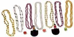 Assorted Color Metallic Bead Necklace (4 pcs.)