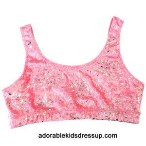 Girls Sports Bras – Pink Fireworks Panne Velvet