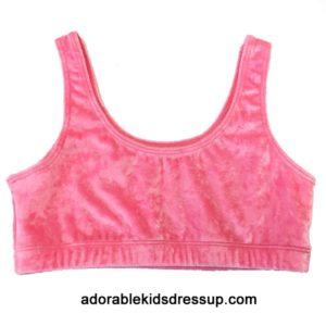 Girls Sports Tops – Pink Panne Velvet
