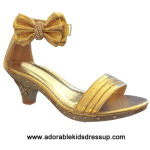 Kids High Heel Shoes-gold