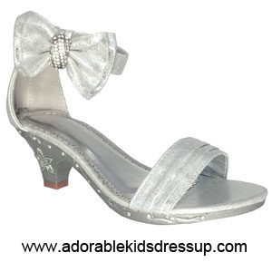 silver high heels for kids