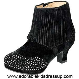 Little Girls High Heel Booties – black