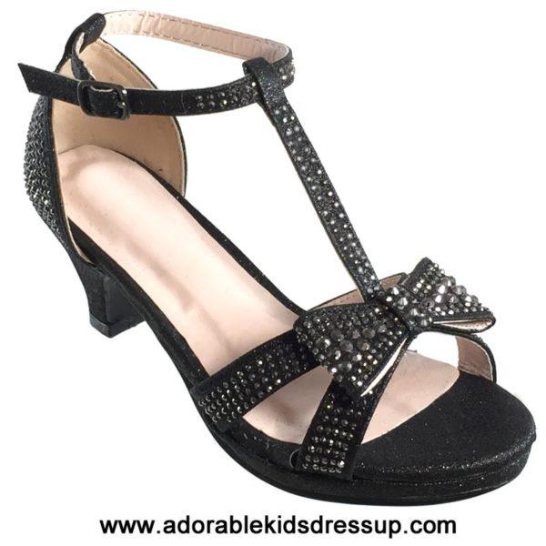 kids black  high heels