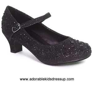 girls black high heel pumps