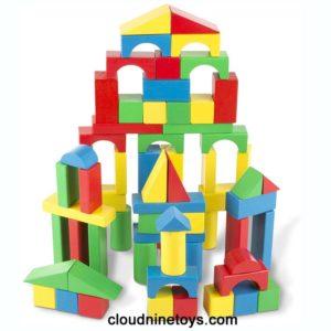 Colored Wood Blocks 100 Piece