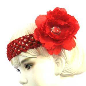Girls Flower Headbands – red