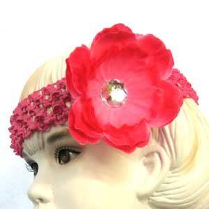 Girls Flower Headbands – dark pink