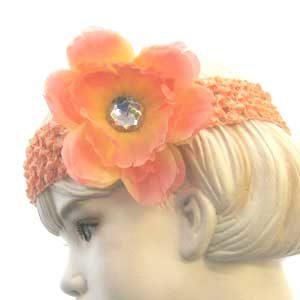 Girls Flower Headbands – peach
