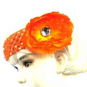 Girls Flower Headbands – orange