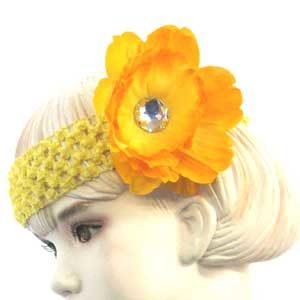 Girls Flower Headbands – yellow