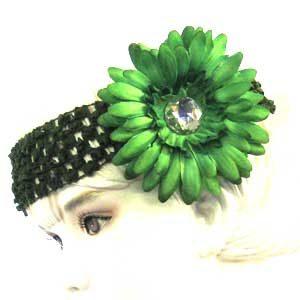 Girls Flower Headbands – green