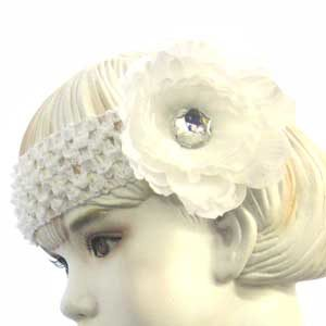 Girls Flower Headband – white