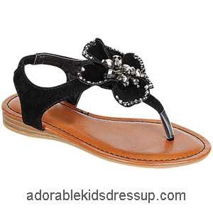 Little Girls Flat Sandals – black