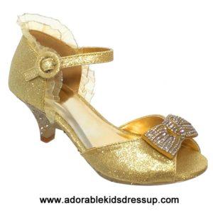 Girls High Heel Shoes- gold