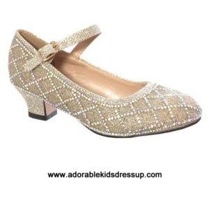 Girls High Heel Shoes- lt. gold pumps