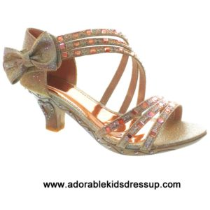 Strappy High Heels for Kids – lt. gold