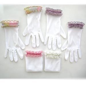 Tea Party Short Gloves with Ruffle (1 pair)