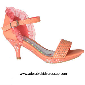 Girls High Heel Shoes-coral