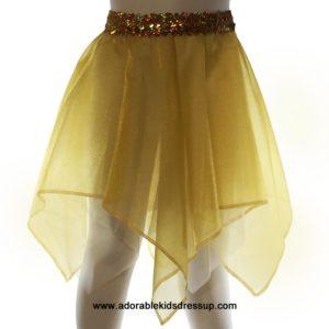 Girls Dance Skirt – Gold Sparkle