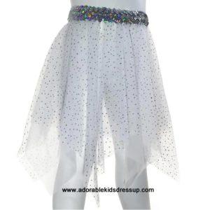 White Holographic Dot Over White Sheer Hanky Skirt