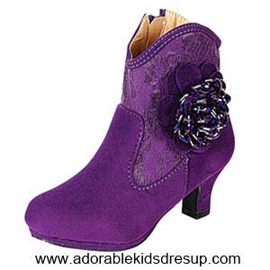 girls purple high heel booties