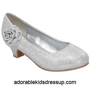 Girls Heels – silver glitter pumps