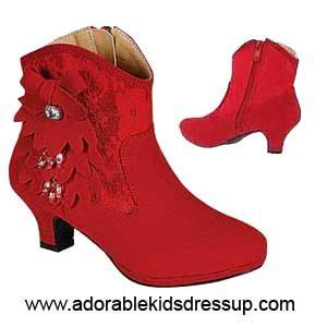 Girls Booties – red dangles