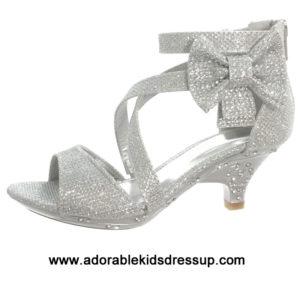 Girls High Heel Shoes – silver