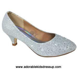 Girls High Heel Shoes- silver pumps