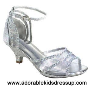 Kids High Heels – silver mesh