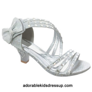 Strappy High Heels for Kids – silver
