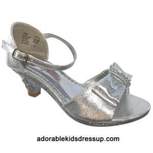 Kids High Heels – silver bow