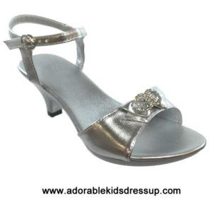 Girls High Heel Shoes- silver