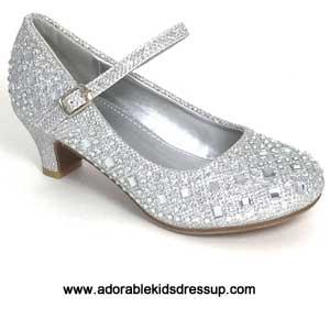 girls silver high heel pumps