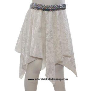 White Panne Velvet Hanky Skirt