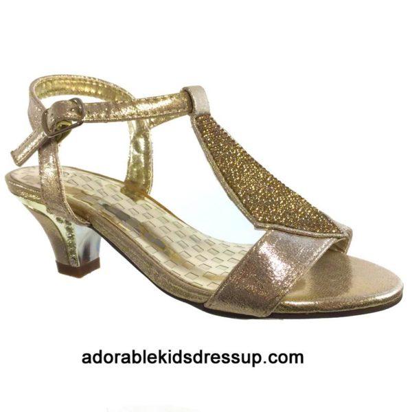 gold high heels for kids