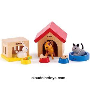 Family Pets Wooden Dollhouse Animal Set